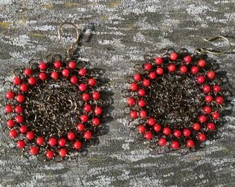 hand crocheted lace earrings