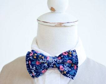 Bow Tie, Bow Ties, Boys Bow Ties, Baby Bow Ties, Bowtie, Bowties, Ring Bearer, Wedding Bow Ties, Rifle Paper Co - Rosa In Navy
