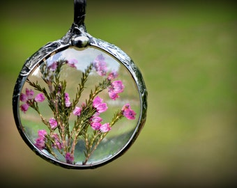 Heather Necklace Flower Jewelry  Long Necklace  Dried Pink Heather Jewelry  Necklace for Woman (2288)