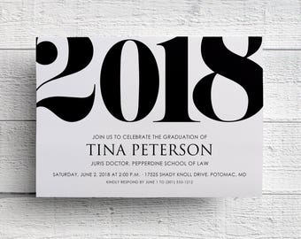 Class of 2018 Invitation, Graduation Invitation 2018, Announcement, Invitation Template, Graduation Party, College, Printable, Invite