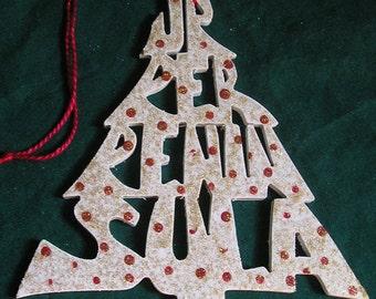 Upper Peninsula, Michigan, handcrafted tree shaped ornament