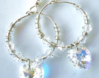 Heart Earrings Clear Swarovski Crystals Hoop Earrings
