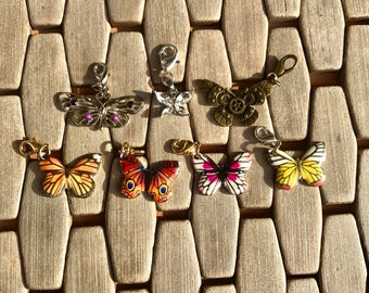 Butterfly charms/crystal butterfly/bronze butterfly/Monarch butterfly charm/pink and white butterfly charm/zipper charms/bracelet charm/I