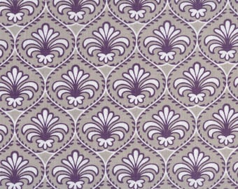 50 x 50 cm taupe fabric purple and white flowers Lily