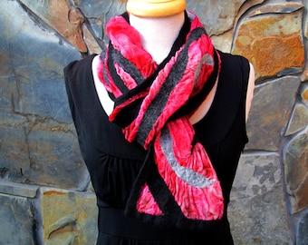 Black and gray merino wool line design on dyed red silk, nuno felt scarf