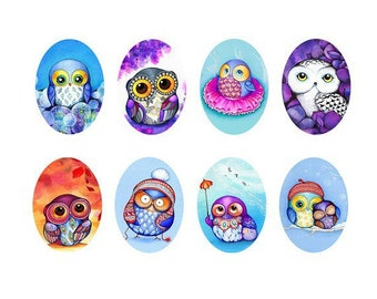 18x25mm, set of 8 owls cabochons