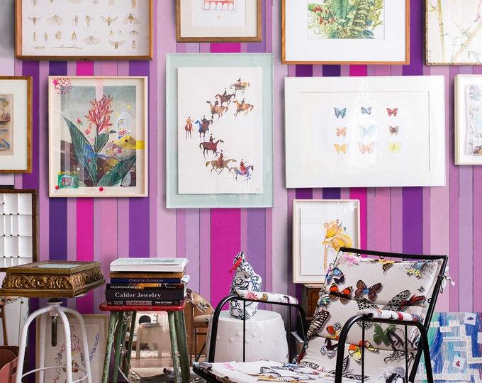 Pink Striped Wallpaper  - Vintage Striped Wallpaper - Striped Wallpaper
