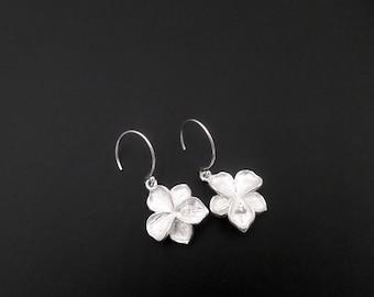 Sterling Silver Earrings, Silver Flower Earrings, Dangle Drop Earrings, Sterling Silver Jewelry, Petal Flower Earrings