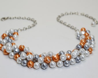 White, Gray and Orange Cluster Necklace, White and Gray Bridal Jewelry, Orange Pearl Necklace, Gray and Orange Pearl Necklace, FREE SHIPPING