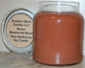18 oz. Apothecary Jar Banana Nut Bread Pure Soy Wax Candle