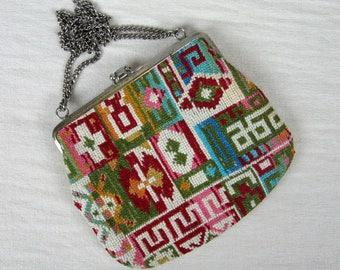 Vintage 1960s Purse 60s Petite Size Carpet Handbag or Clutch with Chain Strap