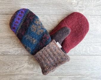 Best Wool Sweater Mittens // Womens Sweater Mittens // Fleece Lined mittens // Teal Purple Rust red