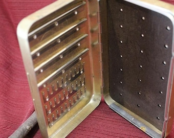 Vintage Perrine Fly Box #101 Wet Dry Magnetic Aluminum Fishermen Gold Color Finish