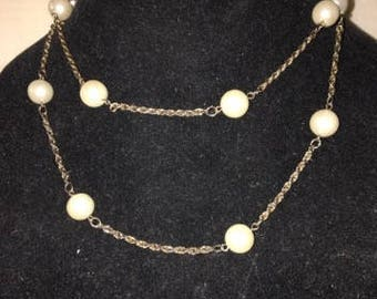 Vintage Pearl and Chain Necklace