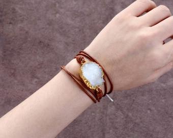 Bracelet Wrap Natural Druzy Stone Geode Slice Gold Quartz Leather Beaded Bangle