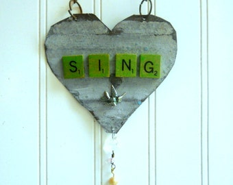 Vintage tin heart upcycled Sing heart bird wall hanging ornament  metal home decor heart Cottage Chic