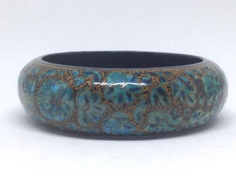 Estate Gorgeous Aqua Green Brown Bangle Bracelet