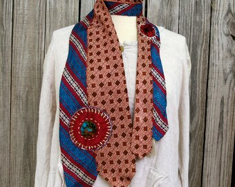 Upcycled Necktie Scarf- Vintage Acetate: Jewel Colors, Patterned, Tie #1