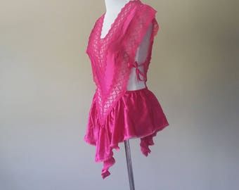 S / Vintage Teddy Romper One Piece Lingerie / Pink Satin & Lace / Small