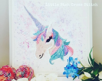 Unicorn Mixed Media Embroidery Collage, Framed Unicorn, Pastel Rainbow Unicorn, Beadwork Unicorn, Unicorn Art, Unicorn Gift