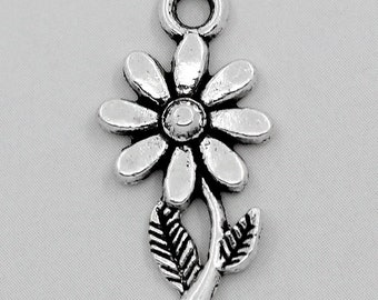 Antique Silver Daisy Flower Charms Pendant Cabochon 19mm 10pcs