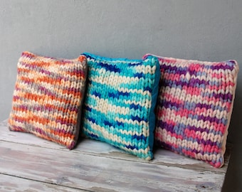 Hand Knitted Pillow Cushion, 100% Super Wash Wool, Roving Wool Eco Friendly, Couch Cushion, Global Textile 16 X 16 inches, Pastel Colors