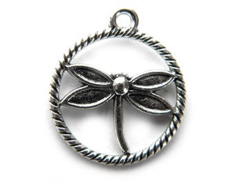 10 Silver Dragonfly Charms