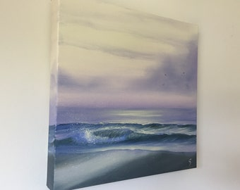 Beach Painting, Ocean Waves, Seascape, Coastal Art, Original Small Oil Painting on Canvas, Tidal Zone