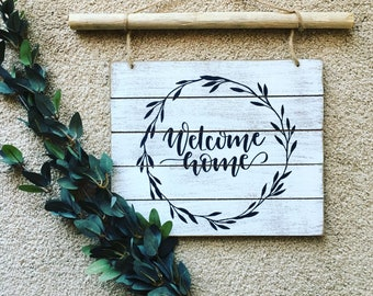 White Welcome Home W/ Wood Dowel Sign