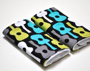 Baby Carrier Strap Covers / Drool Pads / Suck Pads - Groovy Blue Guitar print