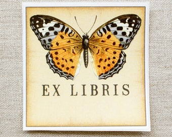 butterfly bookplates - monarch book plates - ex libris - personalized bookplate stickers -  book labels - gift book lovers - gift under 20