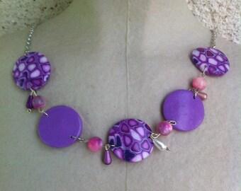Purple mosaic necklace