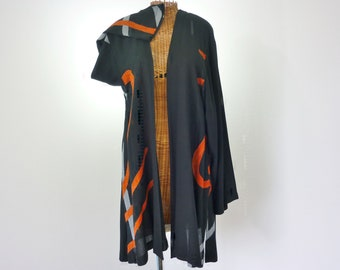 Swing Jacket by Prime Collection Black Gray Orange Rayon New XL