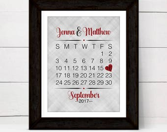 personalized wall art for couple, custom 1st anniversary gift ideas for her wife women, calendar wedding date wall art print