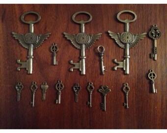 Vintage Looking Bronze Color Set of 14 Keys