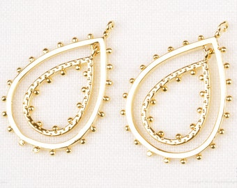 P799-G// Gold Plated Dotted Double Teardrop Dangle Pendant, 2 Pcs