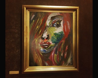painted face home decor. Impressionist Art, Art Print, home decor, red hair painting. girl painting home decor, face painting,