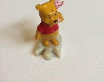 Vintage Winnie the Pooh - Puzzle Piece Winnie PVC Cake Topper Figure - 1990's Vintage Winnie the Pooh Toy