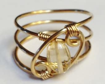 Citrine Ring, Citrine Jewelry, November Birthstone, 14K Gold Filled Ring, Citrine Gold Ring, Citrine Gemstone, Birthstone Ring, Gold Ring