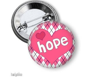Breast cancer awareness pinback button badge