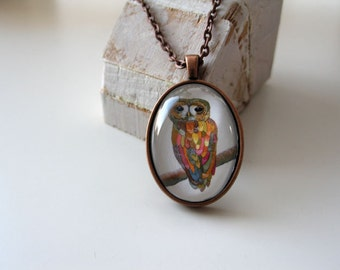 Colorful Owl - mini print necklace pendant and chain