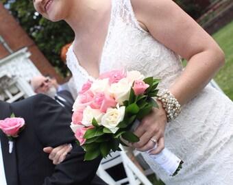 Pearl Crystal Bridal Wedding CUFF Bracelet, White, Ivory, French Gold, Freshwater, Baroque,Hand Knit, Sereba Designs Original Wearable Art
