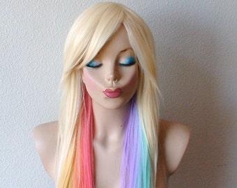 Blonde Pastel rainbow color combre wig. Pastel color Long straight colored hair wig. Lolita blonde color hair wig.