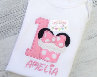 Custom Embroidered Minnie Mouse Inspired Cupcake Onesie / Cake Smash / Photography Prop / First Birthday