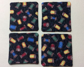 Coasters, quilted, sewing motif.  Set of 4