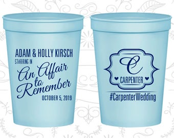 Personalized Plastic Cups, Wedding Cups, Plastic Cups, Stadium Cups, Personalized Cups, Custom Wedding Cups, Monogrammed Cups (C595)