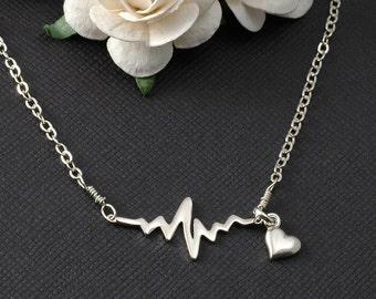 EKG Rhythm Heart Beat Necklace Sterling Silver Gift for Doctor Nurse Firefighter Paramedic EMT Medical Gift