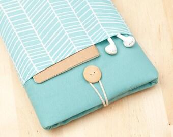 ipad mini sleeve / ipad mini case / ipad mini cover - sea lines with pockets -