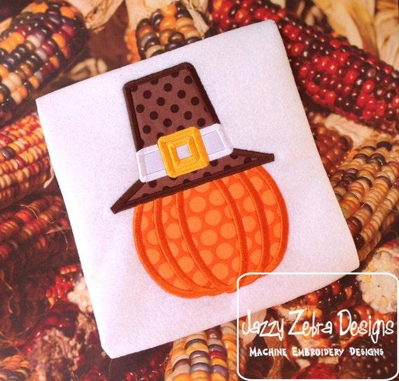 Pumpkin wearing Pilgrims Hat Appliqué embroidery Design - Pumpkin Appliqué Design - pilgrim Appliqué Design - Thanksgiving Applique Design