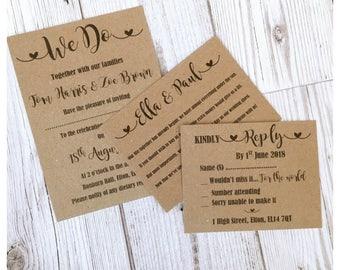 Personalised Wedding Invitation Vintage \ Rustic Day / Evening + 2 Inserts Poem Rsvp + envelope(s)